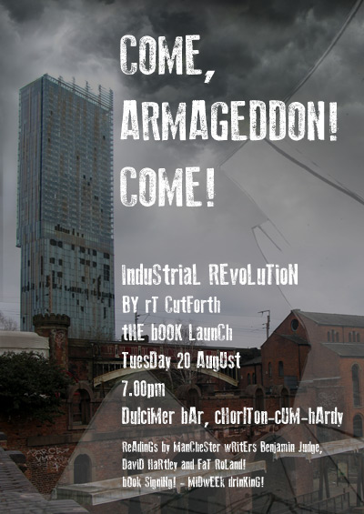Book launch poster, post apocalyptic scene with Come, Armageddon Come! on the front
