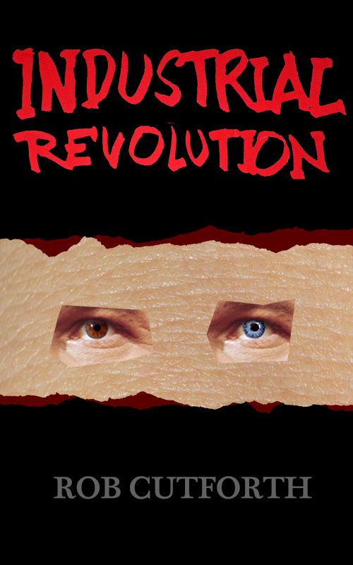 black cover with a strip of flesh punctuated by two right eyes, one brown one blue. Title in splashy red font