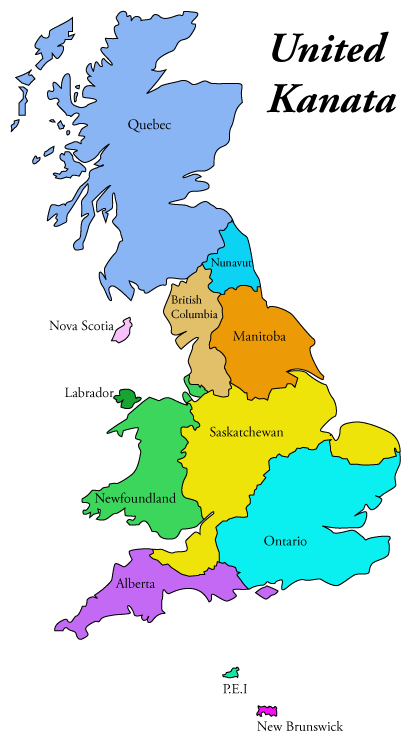 map of UK with Canadian provinces taking the place of UK counties